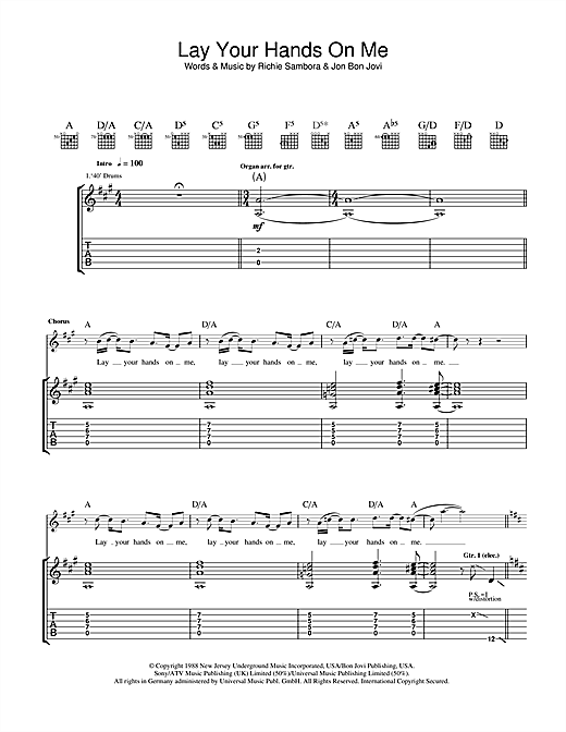 Tablature guitare Lay Your Hands On Me de Bon Jovi - Tablature Guitare