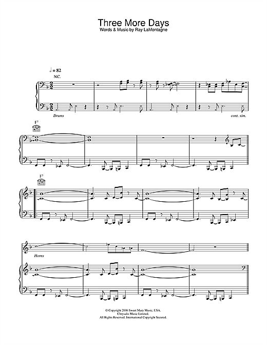 Three More Days Sheet Music
