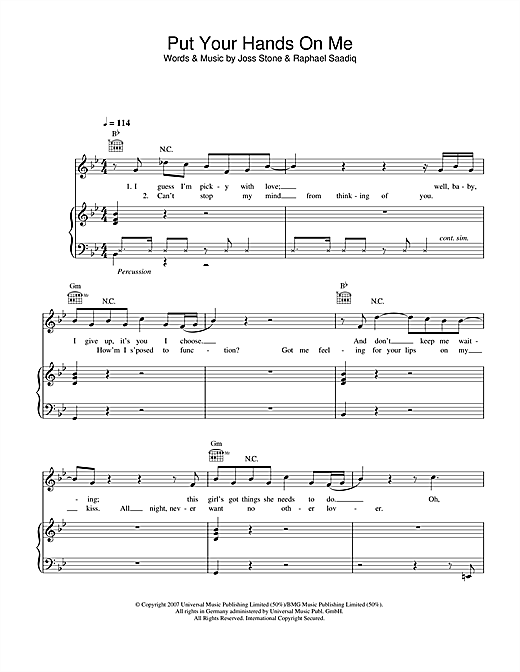 Put Your Hands On Me Sheet Music