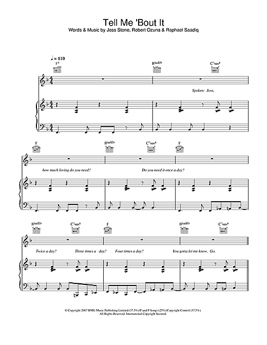 Tell Me 'Bout It Sheet Music