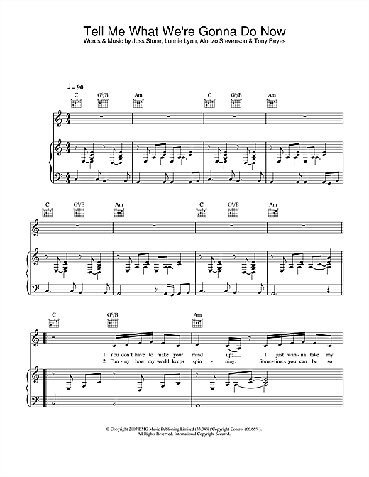Tell Me What We're Gonna Do Now Sheet Music