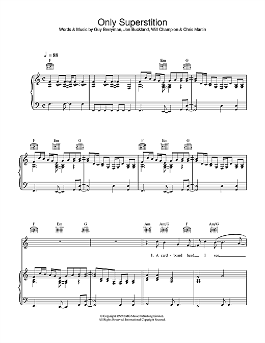 Partition piano Only Superstition de Coldplay - Piano Voix Guitare