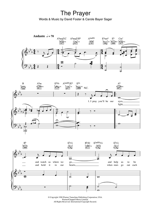 Partition piano The Prayer de Katherine Jenkins - Piano Voix Guitare