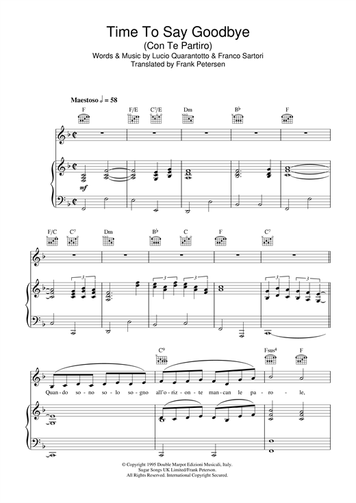 Partition piano Time To Say Goodbye (Con Te Partiro) de Katherine Jenkins - Piano Voix Guitare