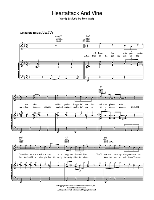 Heartattack And Vine Sheet Music
