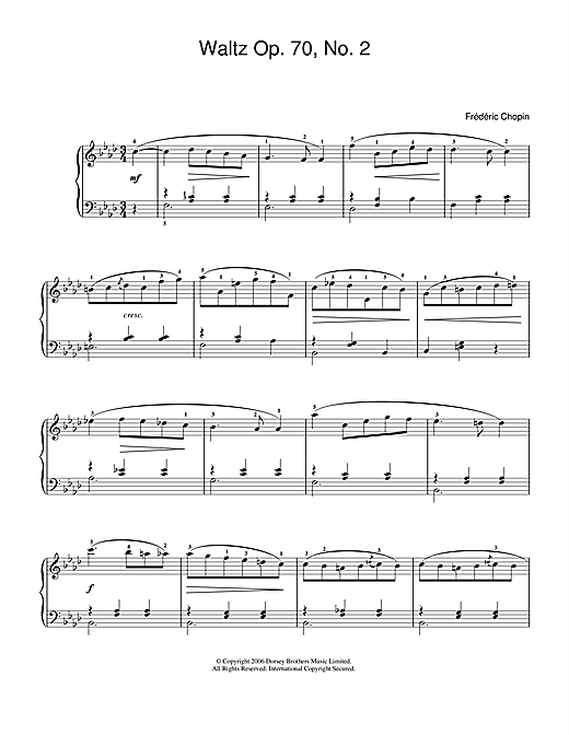 Partition piano Waltz Op. 70, No. 2 de Frédéric Chopin - Piano Facile