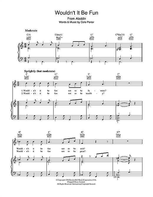 Wouldn't It Be Fun? Sheet Music