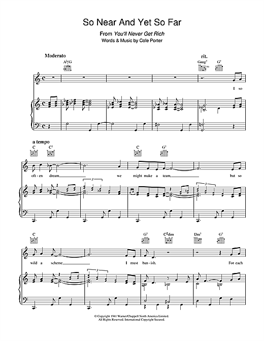 So Near And Yet So Far Sheet Music