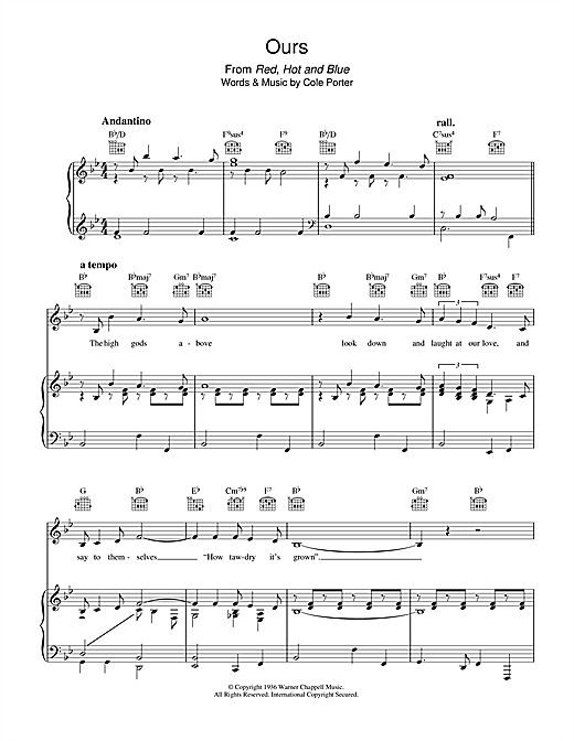 Ours Sheet Music