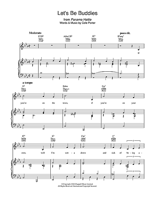 Partition piano Let's Be Buddies de Cole Porter - Piano Voix Guitare (Mélodie Main Droite)