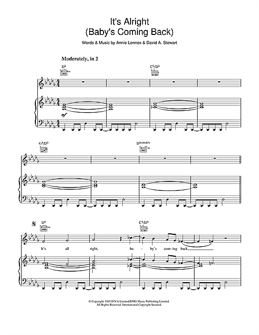 It's Alright (Baby's Coming Back ) Sheet Music