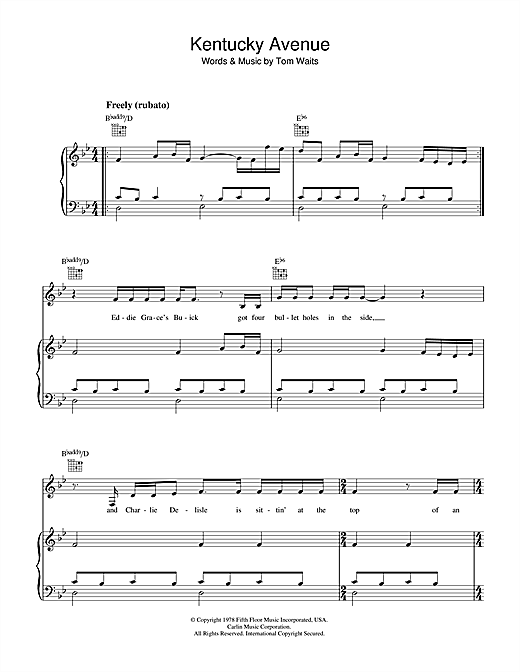 Kentucky Avenue Sheet Music