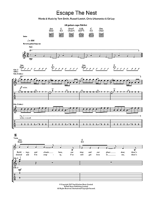 Tablature guitare Escape The Nest de Editors - Tablature Guitare