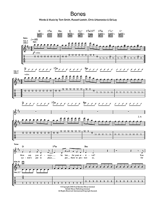 Tablature guitare Bones de Editors - Tablature Guitare