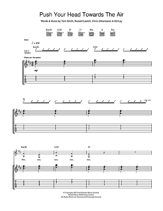 Push Your Head Towards The Air (Guitar Tab)