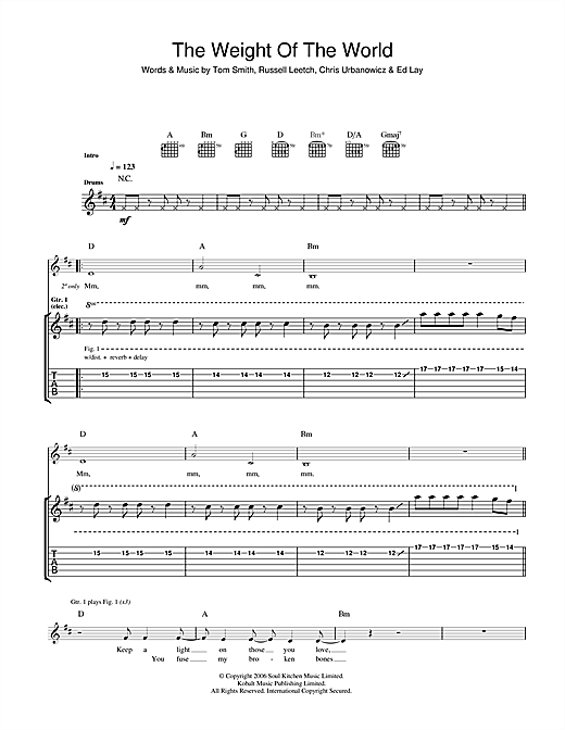 Tablature guitare The Weight Of The World de Editors - Tablature Guitare