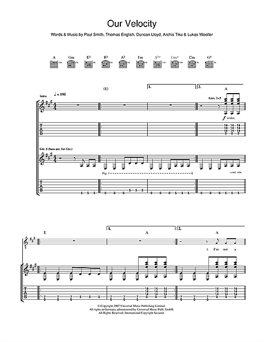 Tablature guitare Our Velocity de Maximo Park - Tablature Guitare