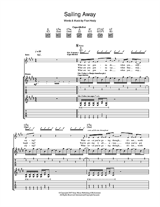 Tablature guitare Sailing Away de Travis - Tablature Guitare