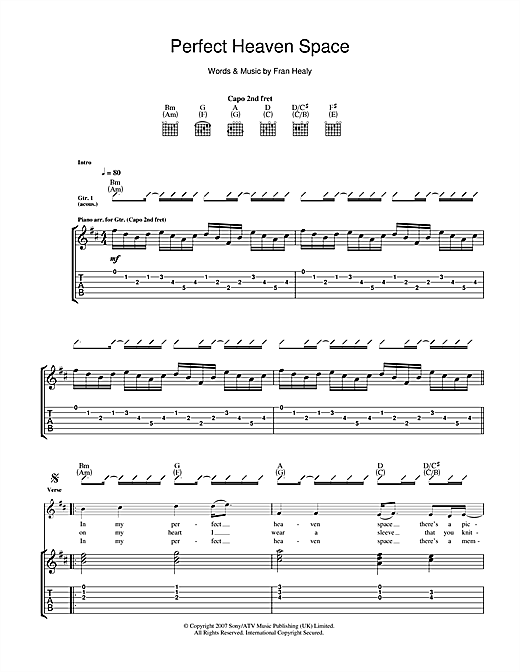 Tablature guitare Perfect Heaven Space de Travis - Tablature Guitare