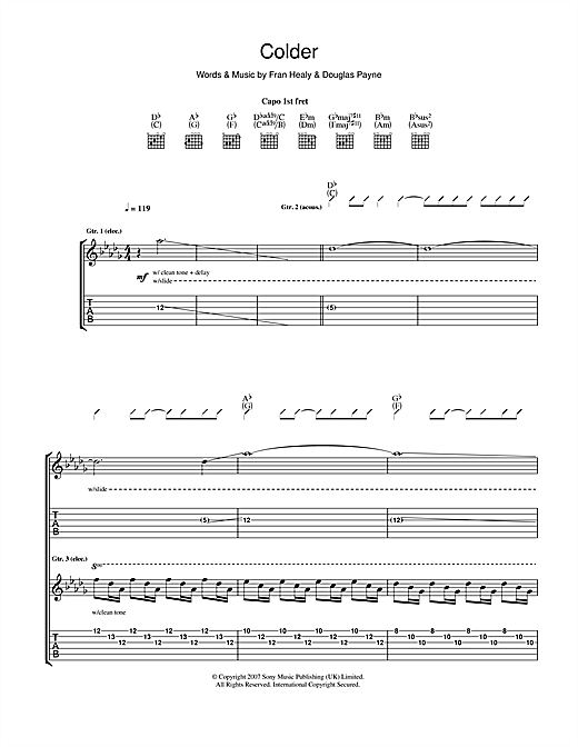 Tablature guitare Colder de Travis - Tablature Guitare