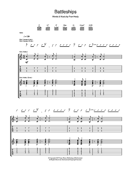 Tablature guitare Battleships de Travis - Tablature Guitare