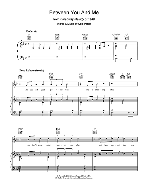 Between You And Me Sheet Music