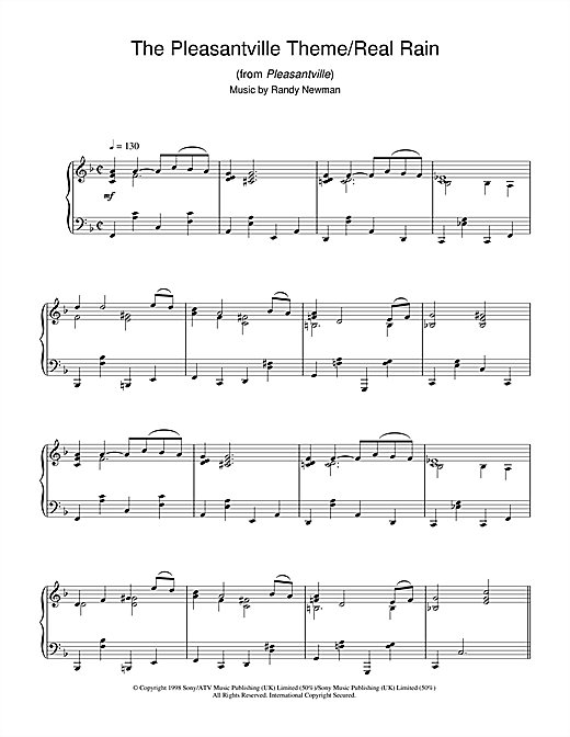The Pleasantville Theme/Real Rain (from Pleasantville) Sheet Music