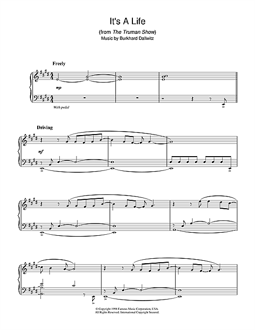 It's A Life (from The Truman Show) Sheet Music