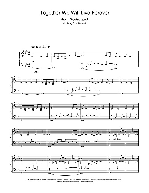 Together We Will Live Forever (from The Fountain) Sheet Music