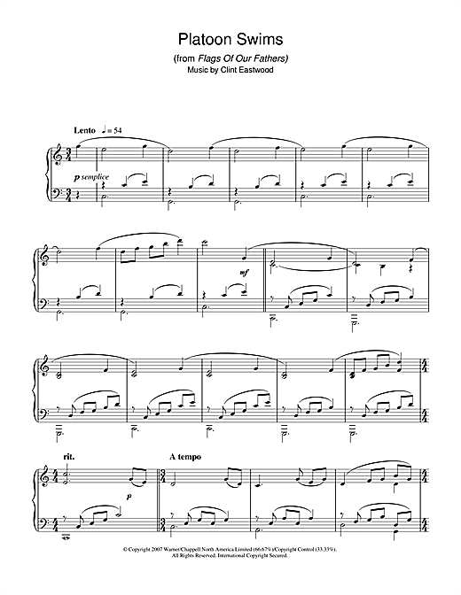 Platoon Swims (from Flags Of Our Fathers) Sheet Music