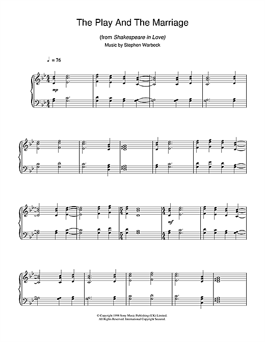 The Play And The Marriage (from Shakespeare In Love) Sheet Music