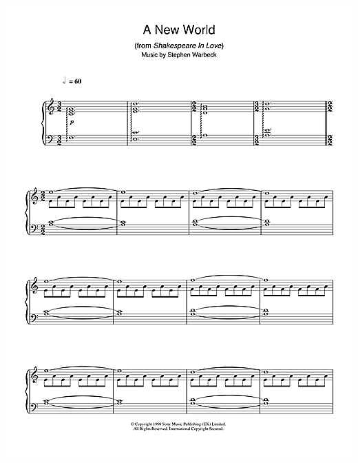 Partition piano A New World (from Shakespeare In Love) de Stephen Warbeck - Piano Solo