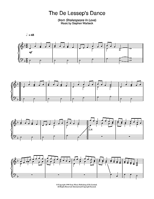 Partition piano The De Lessep's Dance (from Shakespeare In Love) de Stephen Warbeck - Piano Solo