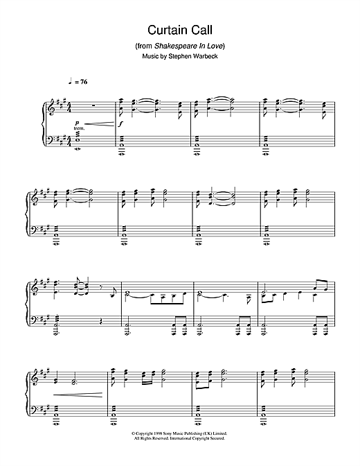 Partition piano Curtain Call (from Shakespeare In Love) de Stephen Warbeck - Piano Solo