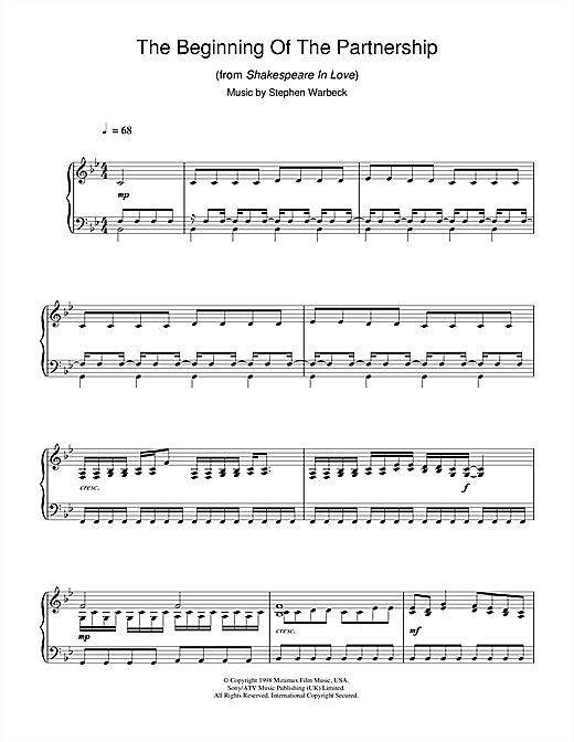 Partition piano The Beginning Of The Partnership (from Shakespeare In Love) de Stephen Warbeck - Piano Solo