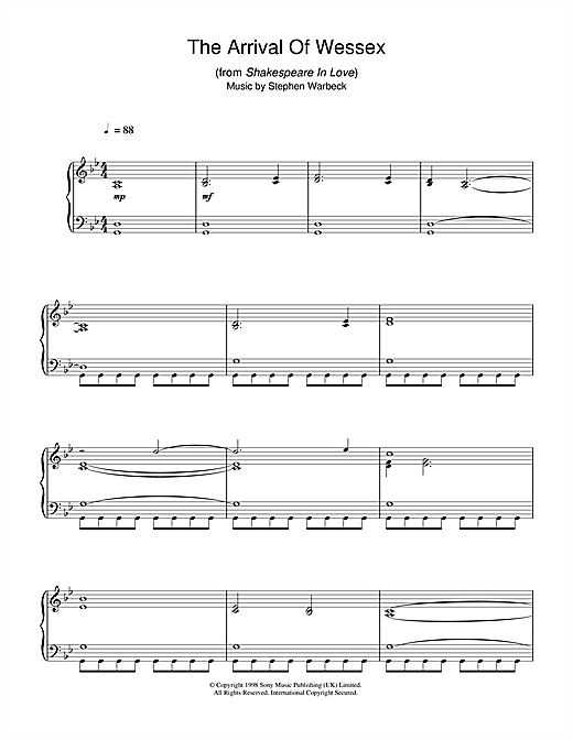 The Arrival Of Wessex (from Shakespeare In Love) Sheet Music