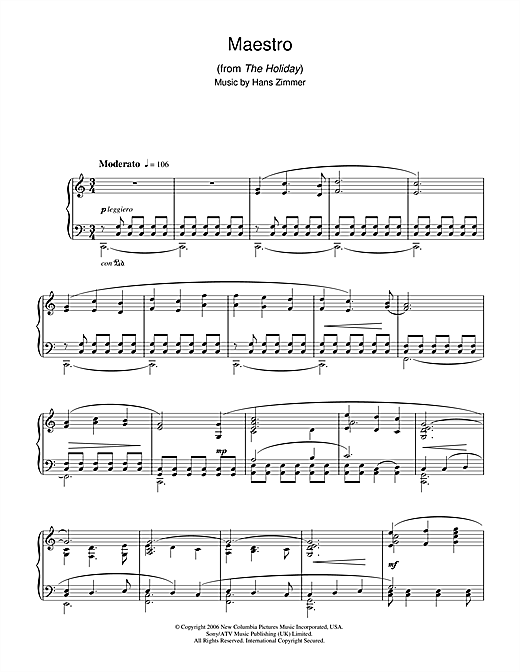 Maestro (from The Holiday) Sheet Music