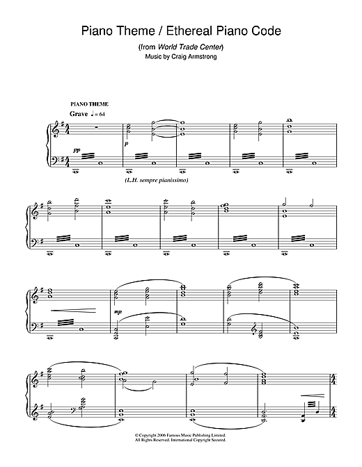 Piano Theme/Ethereal Piano Code (from World Trade Center) Sheet Music