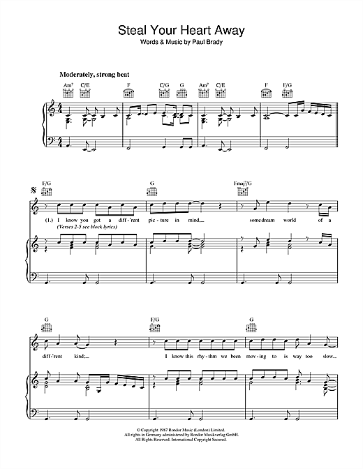 Steal Your Heart Away Sheet Music