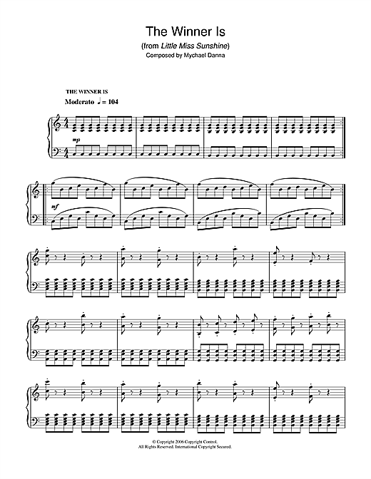 The Winner Is (from Little Miss Sunshine) Sheet Music