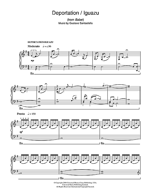 Deportation/Iguazu (from Babel) Sheet Music