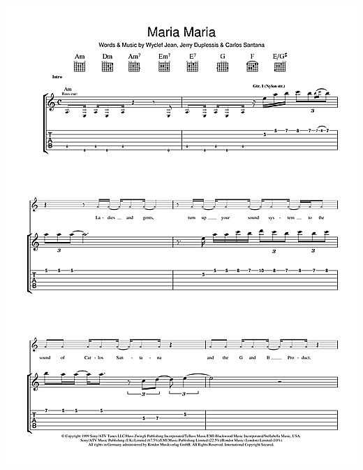 Tablature guitare Maria Maria de Santana - Tablature Guitare