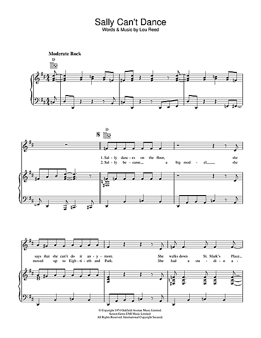 Sally Can't Dance (Piano, Vocal & Guitar (Right-Hand Melody))