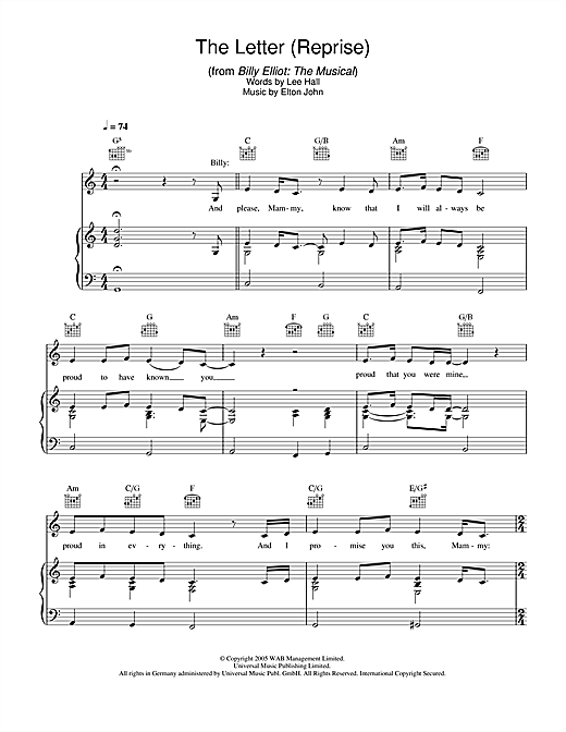 The Letter – Reprise (from Billy Elliot: The Musical) Sheet Music