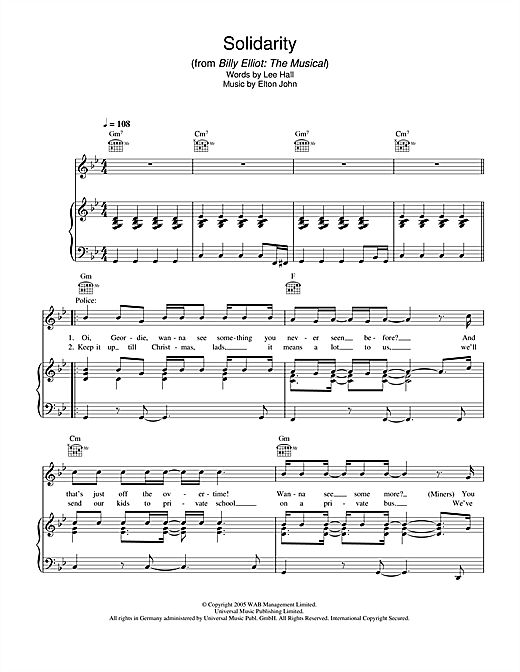 Solidarity (from Billy Elliot: The Musical) Sheet Music