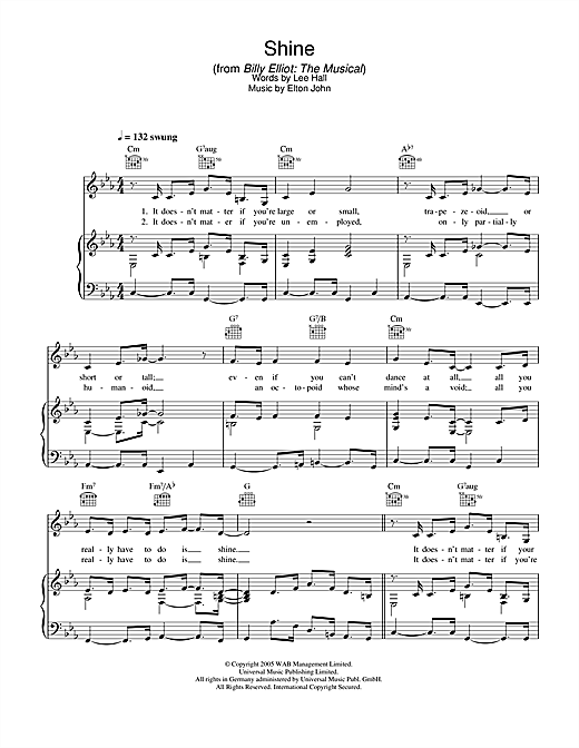 Shine (from Billy Elliot: The Musical) Sheet Music