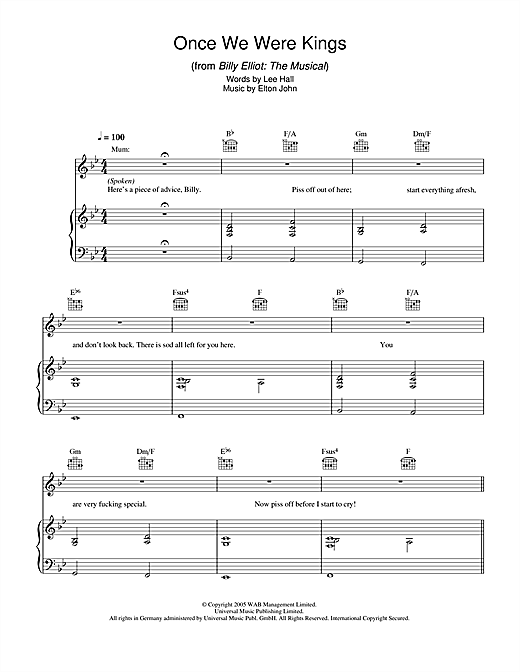 Once We Were Kings (from Billy Elliot: The Musical) Sheet Music