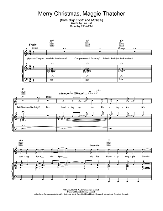 Merry Christmas Maggie Thatcher (from Billy Elliot: The Musical) Sheet Music