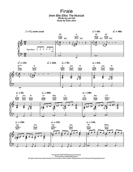Finale (from Billy Elliot: The Musical) (Piano, Vocal & Guitar (Right-Hand Melody))
