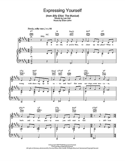 Expressing Yourself (from Billy Elliot: The Musical) Sheet Music